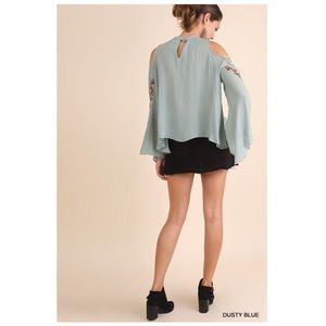Tops - Embroidered Crisscross Cold Shoulder Blouse Blue